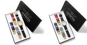 Invicta-4-Interchangeable-Leather-Bands-MOP-Swiss-50mm-Dial-Date-Men-Watch-Sets