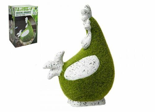FLOCCATI Gallo Decorazione Giardino Veranda effetto erba Animale Statua Figura 27.5cm
