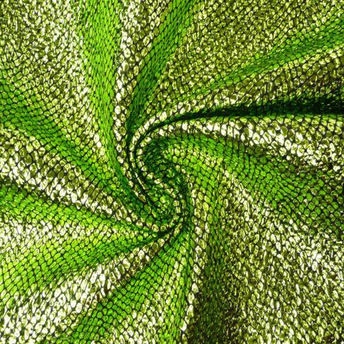 Schlangenhaut Optik Metallic Stoff Faschingsstoff apfelgrün grün schwarz 1,4m Br