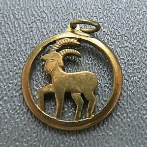 Gold-tone-circular-Aries-Ram-April-Zodiac-charm