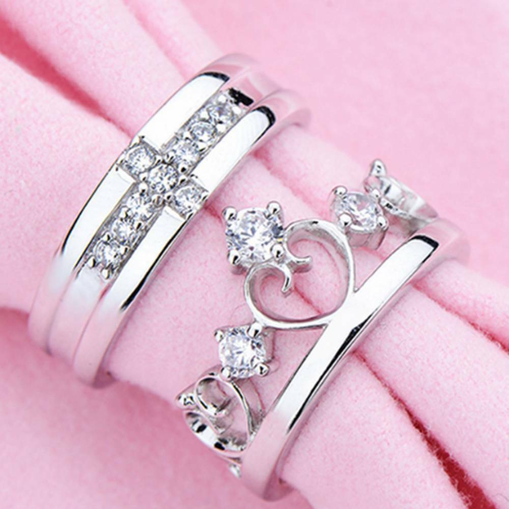 Queen Crown Cross Silver Couple Rings Wedding Band His and Her ...