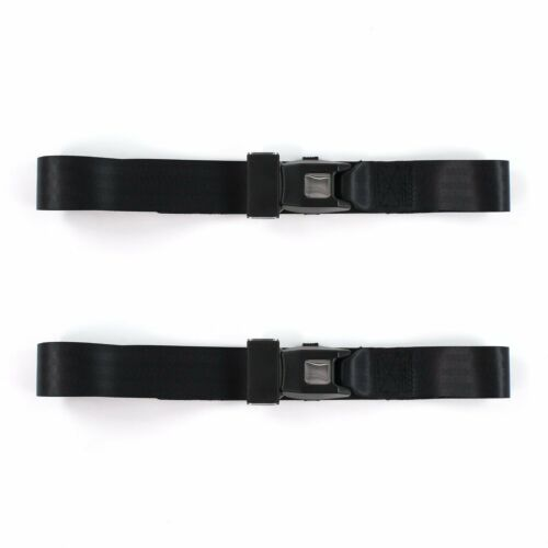 Chevy Chevelle 1964-1967 Standard 2pt Black Lap Bucket Seat Belt Kit 2 Belts