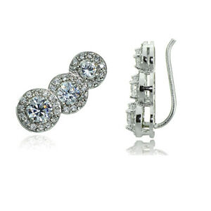 Sterling-Silver-CZ-Three-Stone-Halo-Crawler-Climber-Hook-Earrings-3-Colors