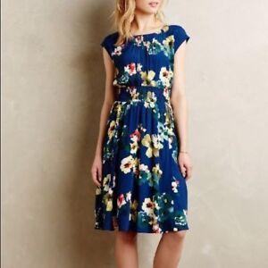Authentic-Anthropologie-MAEVE-Evaline-Blue-Floral-Dress-Size-XS