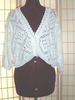 Wt Milestone Sz M White Cotton Crochet Bolero Shrug Cardigan Sweater Jacket