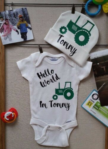 Personalized Name Tractor Baby Boy Clothes Onesies /& Hat Baby Shower Gift Set