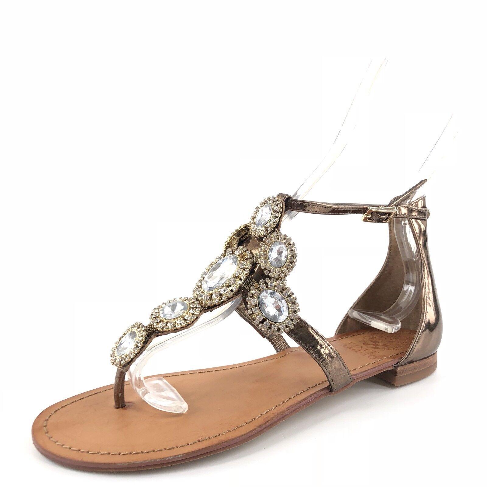 Vince Camuto Manelle Bronze Leder Jeweled T Strap Sandales Damens's Größe 6 M