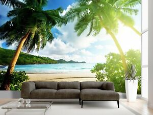 Beach Sea Island Palm Tree Wallpaper Wall Mural Ocean Sky Photo Summer Poster