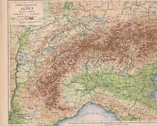 Alpen Höhenschichten Gebirge LANDKARTE von 1889 Alpenübergänge Alpenpässe