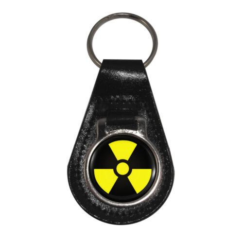 Radiation Warning Sign Black Leather Keyring in Gift Box symbol nuclear BNIB