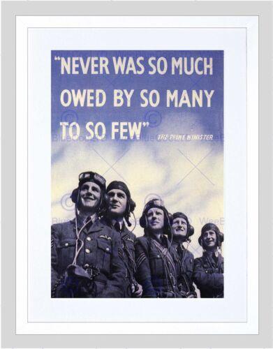 WAR WWII UK CHURCHILL PILOT BATTLE BRITAIN QUOTE FRAMED ART PRINT B12X6092