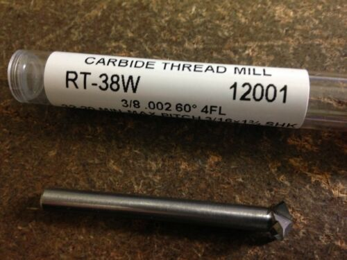 "3//8/"" 60 DEGREE INCLUDED ANGLE 4 FLUTE CARBIDE THREAD MILL"