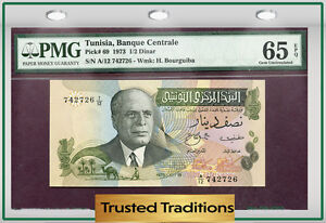 Banknotes of Every Nation Tunisia 1973 1//2 Dinar P69 UNC prefix A//12