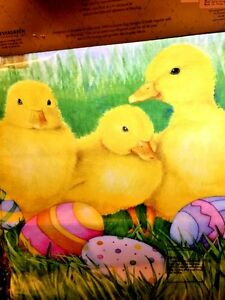 EVERGREEN-Easter-Colored-Eggs-and-Baby-Yellow-Ducks-Bunny-Garden-FLAG-BRAND-NEW