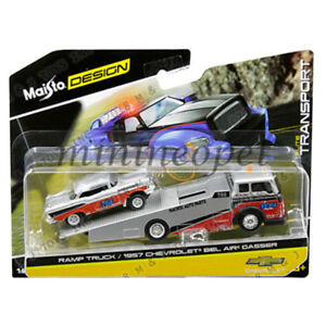 MAISTO-15055-18A-ELITE-TRANSPORT-RAMP-TRUCK-with-1957-CHEVY-BEL-AIR-GASSER-1-64