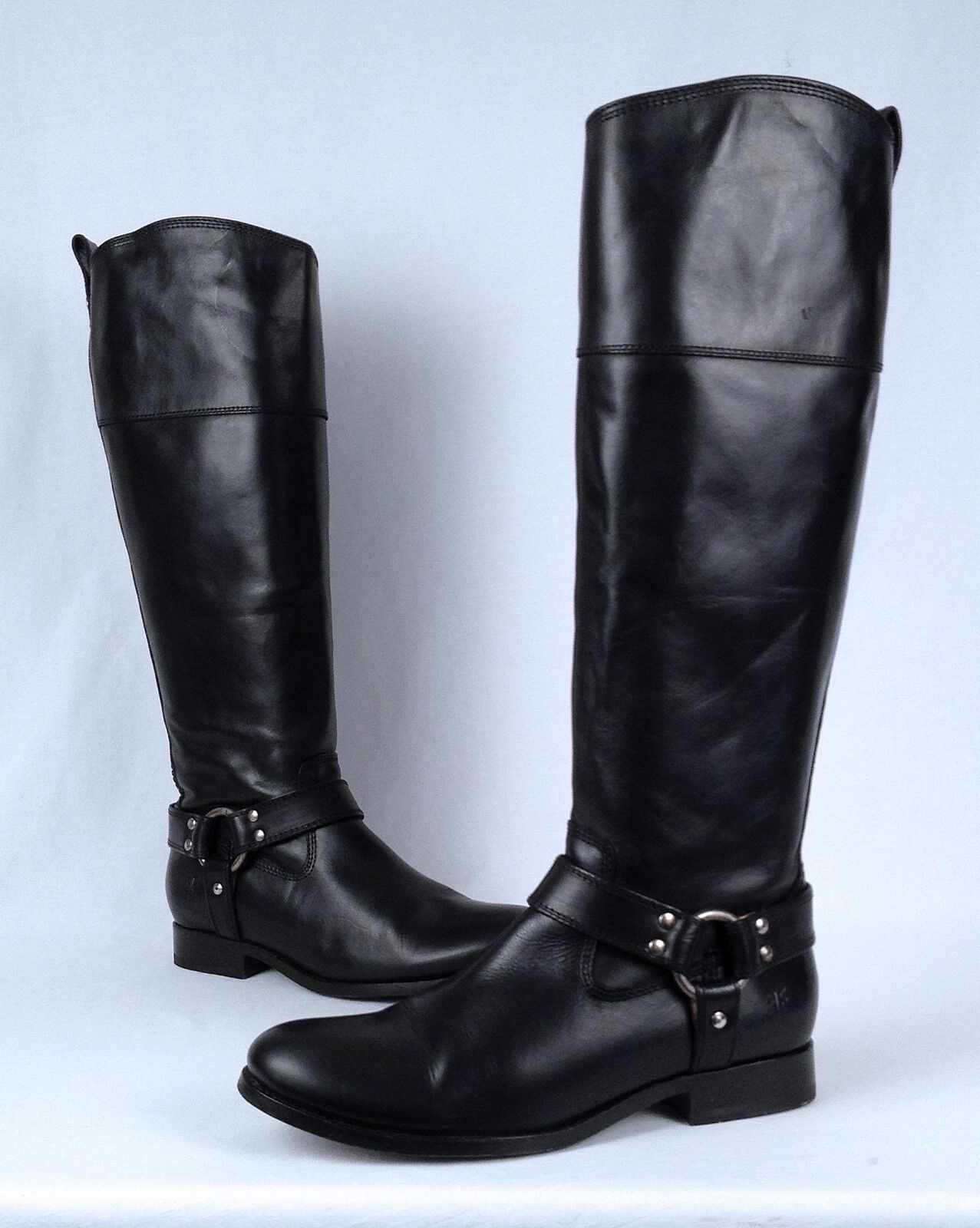 Frye Black- 'Melissa Harness' Riding Boot- Black- Frye Size 7.5 B   (B34) 4502d5