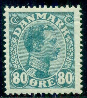 DENMARK #126 (159) 80ore Chr. X, og, LH, VF+, Scott $50.00