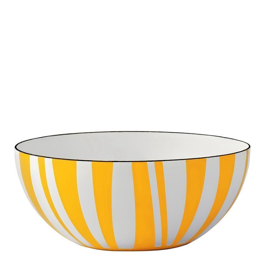 Vintage Cathrineholm stripes bowl Gelb 14cm steel new