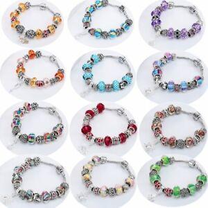 Bohemian-Colorful-Crystal-Flower-Murano-Glass-Bead-Snake-Chain-Bracelet-Handmade