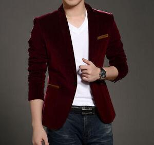 New Fashion Men Casual Slim Fit One Button Velvet Suit Blazer Coat Jackets Ebay