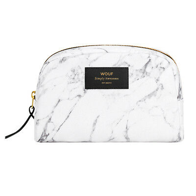 NEW Wouf big beauty bag in white marble print by Until