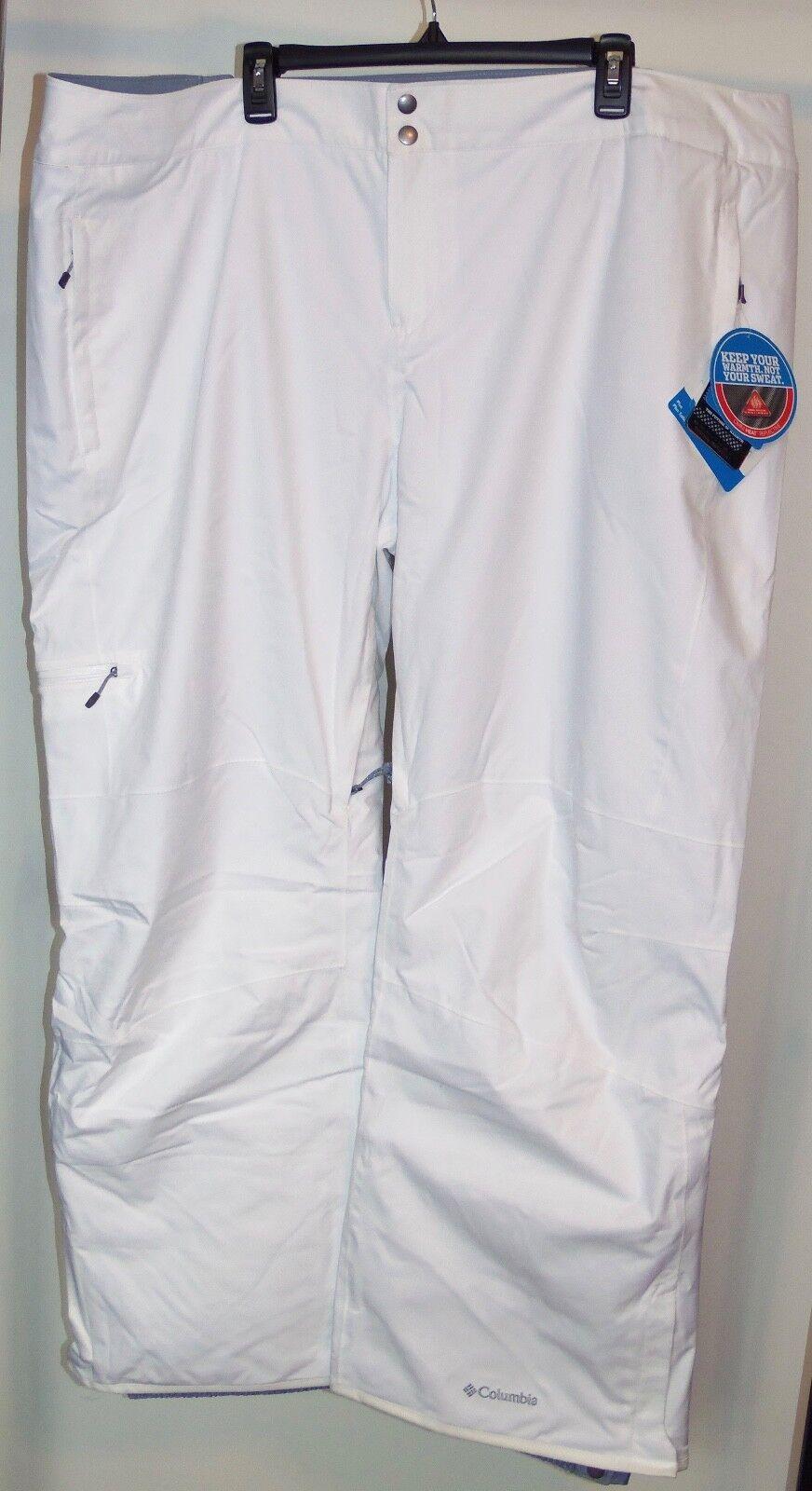 New 3X Columbia 3X New Snow Pants Omni Heat Thermal Reflective Lined Ski Winter Weiß 801dab