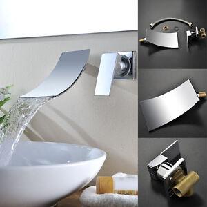 Détails sur Chrome mitigeur salle de bain cascade bassin évier robinet  mural baignoire