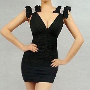 CHIC-robe-de-soiree-Strass-sur-les-epaule-noire-taille-36-38-neuve