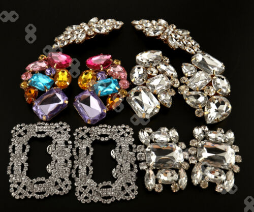 Pair of Glitter Rhinestone Crystal Wedding Bridal Tone Buckle Shoe Charm Clips