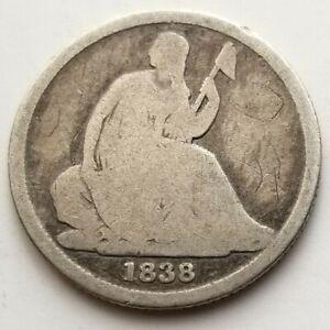 1838 O SEATED LIBERTY DIME GOOD ORIGINAL COIN NICE!