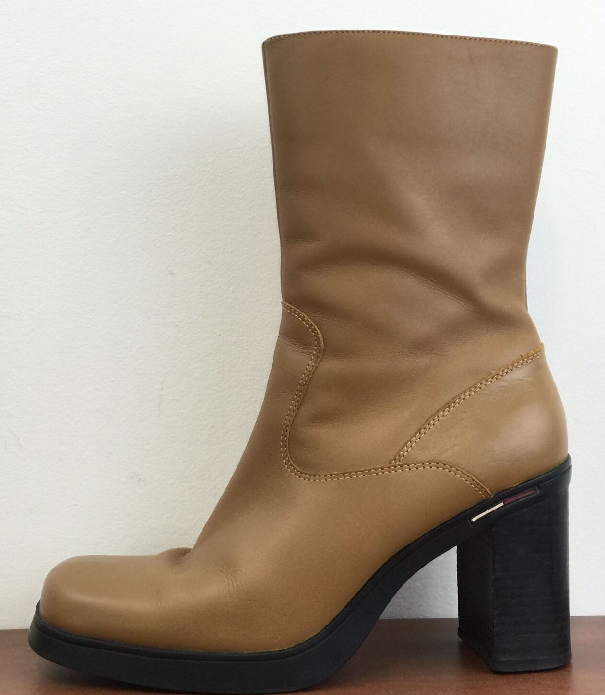 Damenschuhe TOMMY HILFIGER Leder Platform Stiefel Side Zip Flexible Sole Größe 7.5 M