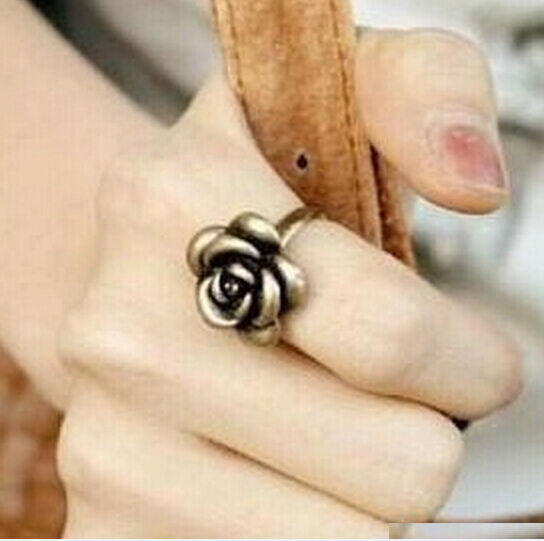 Vintage Gothic Retro Chopper Flower Flora Rose Ring Jewelry Adjustable