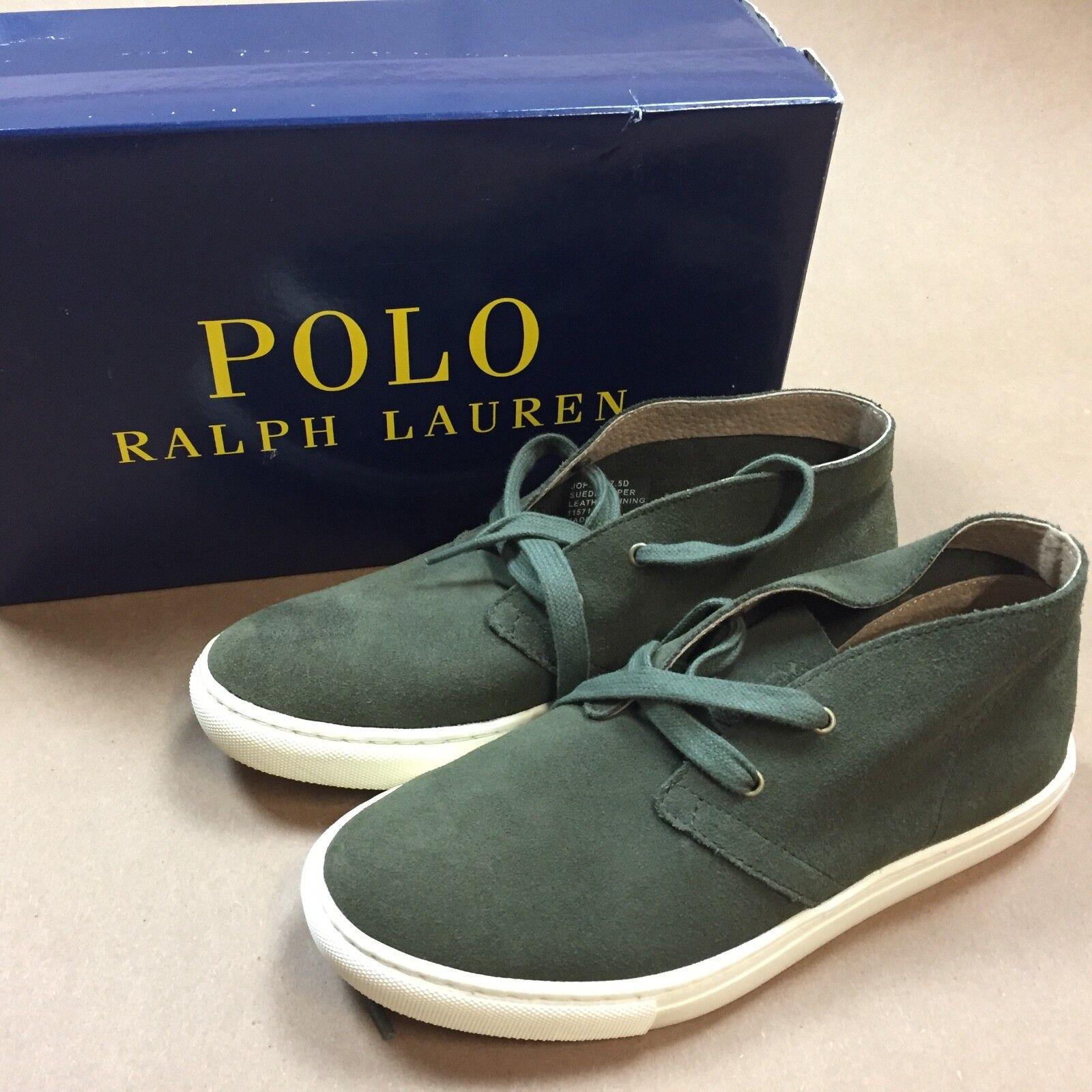 New in box polo ralph lauren joplin green sport suede shoes 7.5 7