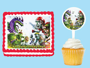 Plants vs Zombies Edible Birthday Cake Cupcake Topper Party Plastic
