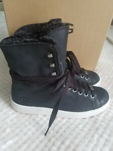 58f1a39f1ac Details about UGG women's STARLYN 1019715 HIGH TOP leather & shearling  SNEAKERS BLACK NEW SZ 6