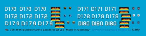 Peddinghaus-Decals 1//300 3616 Deutsche Zerstörer der Bundeswehr Z1-Z6