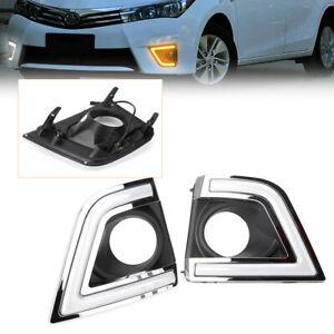 2PCS LED Daytime Running Fog Lights Lamp DRL For Toyota Corolla 2014 2015 cl