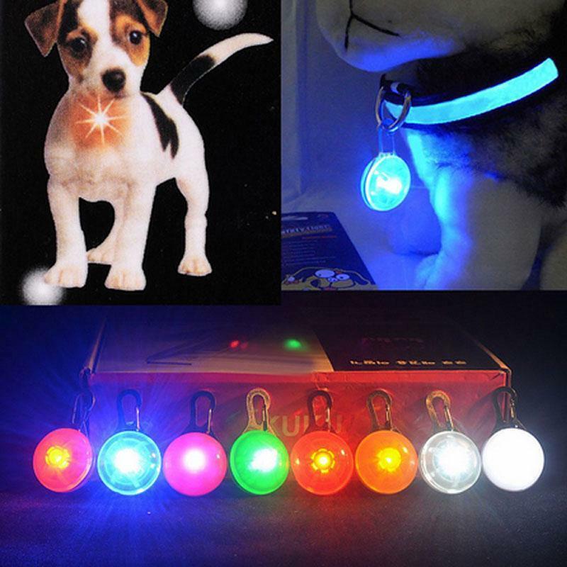 Simple Pet Dog Cat Puppy LED Flashing Collar Safety Night Light Keyring Pendant