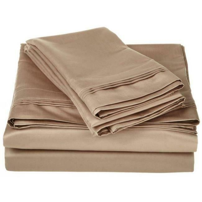 Egyptian Cotton 1500 Thread Count Solid Sheet Set Queen-Taupe