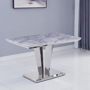 Riccardo Grey Marble Chrome 1 2m Rectangular Dining Table Ebay