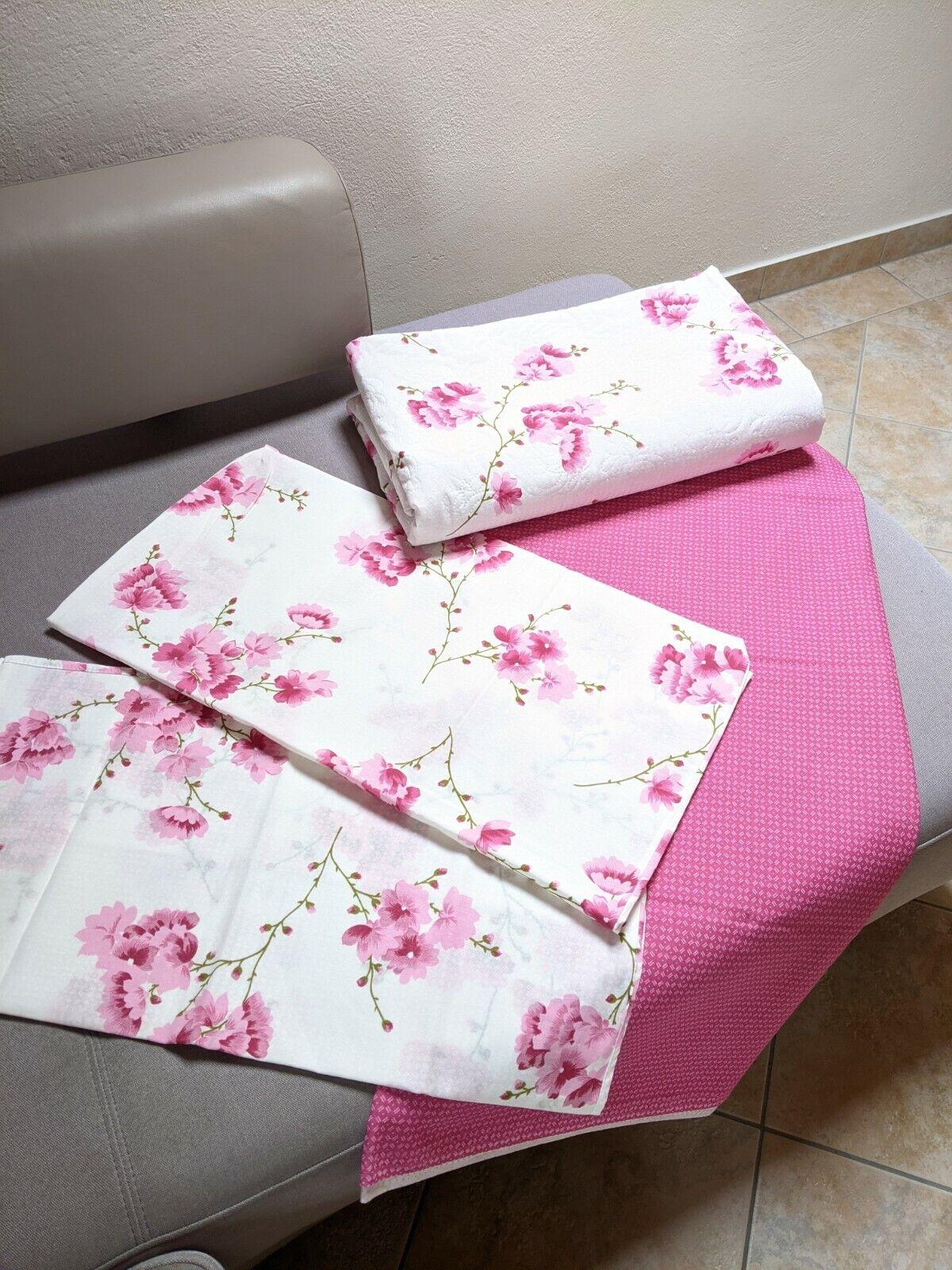 Bettdecke Bettlaken Kissenbezug Rosa Weiß geblümt Neu! Bettwäsche Bettüberwurf