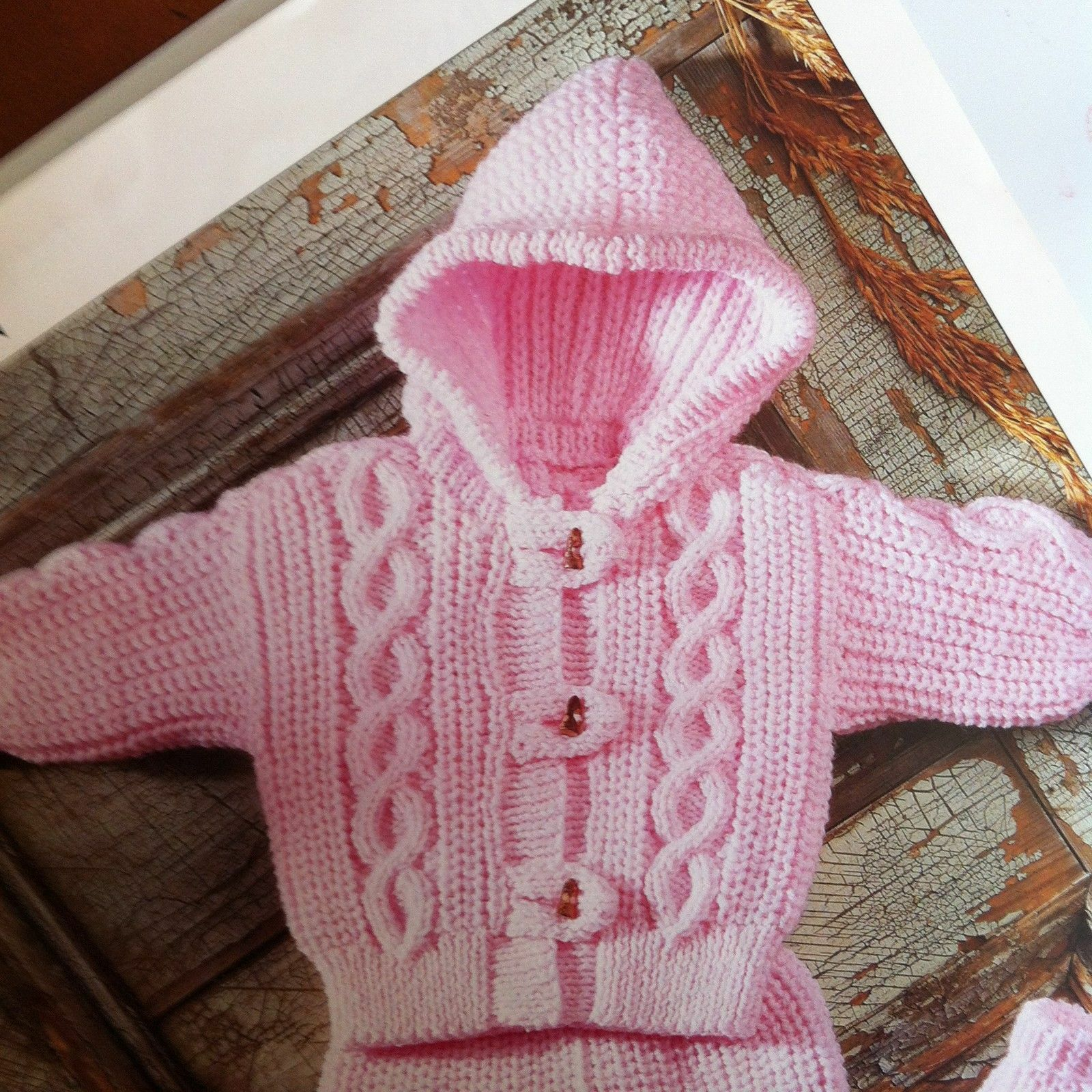 Knitting Pattern Child s Hooded Jacket : Baby/Childs Aran Hood Jacket, Pants and Mittens 18