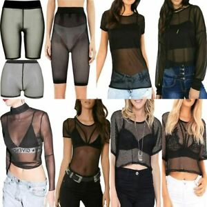 Ladies Plain Polo Neck Full Mesh Insert Long Sleeve Shirt Womens Casual Crop Top