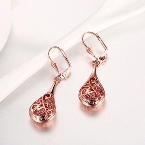 Rose Gold Plated Filigree Teardrop Lever Back Drop Dangle Earrings L130