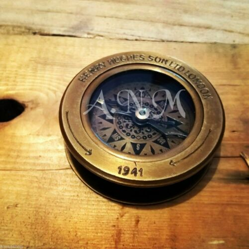 Brass Antique Compass Flip Out Magnifying Glass Vintage Magnifier Marine
