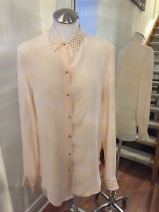 0d2e79925f86f Details about ZARA WOMAN Embelished Collar Sleeves 100% Silk Pastel Pink  Blouse Sz M Ret  110