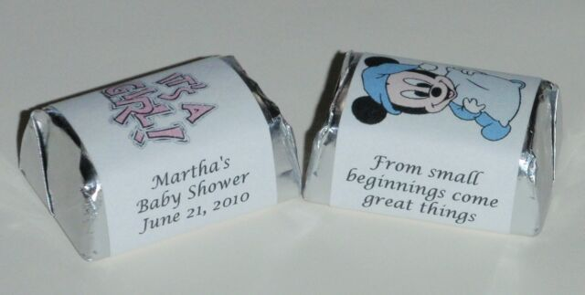 30 BABY SHOWER PERSONALIZED LABELS HERSHEY NUGGET CANDY BOY, GIRL, TWINS DECALS