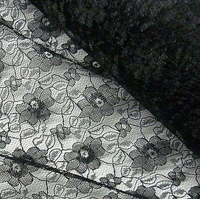 Black Budget Flower Lace Fabric (Per Metre)
