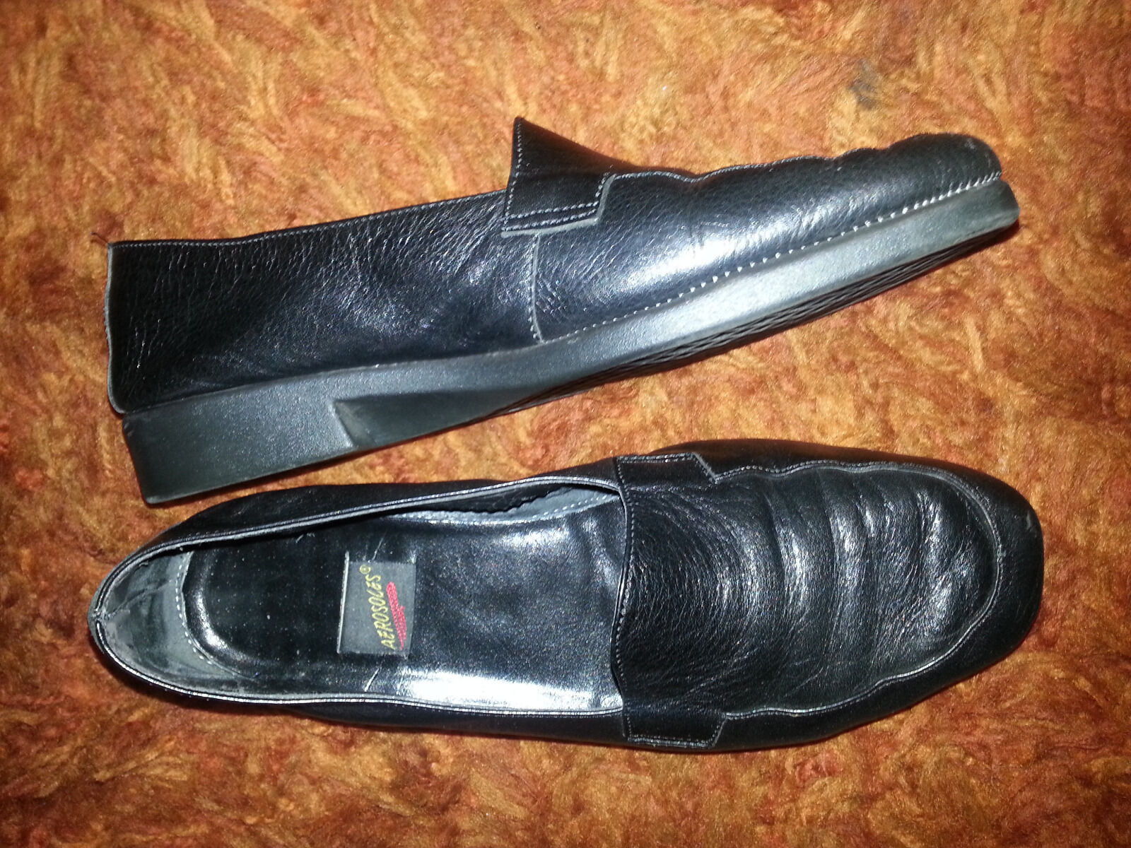 Aerosoles Women's Size 9B MOCC A RENA in Black Leather FREE Delivery