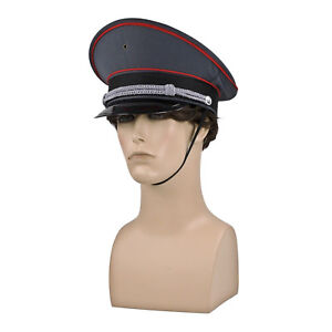 Image is loading Military-Officer-Captain-General-Dictator-German-Costume- Hat- 3e0bbf406a1